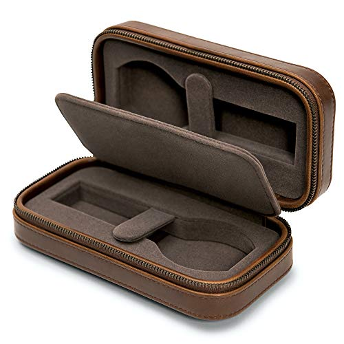 TAWBURY 2 Watch Travel Case for Men Leather – Luxury Watch Pouch with Zipper, Padded Storage, Single Divider for Traveling | Carrying Cases for Two Large Mens Wrist Watches | Portable Watch Box Holder