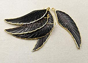 Davitu WT-P1245 Wholesale Fashion Jewelry Natural Buffalo Horn Carved Pendant Plated Black Bone Feather Shape Pendant Trinket Jewelry - (Metal Color: Gold Plated)
