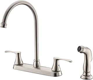 Bokaiya Kitchen Faucet with Sprayer High Arch Stainless Steel Double Handle Kitchen Faucet with Side Spray, 4 Hole Brushed Nickel Kitchen Faucet