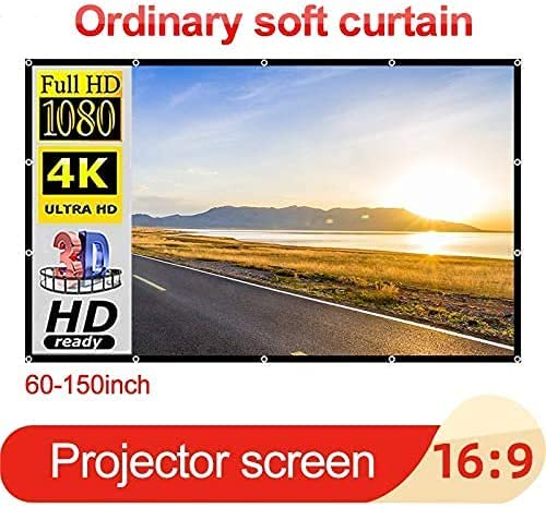 HGSDKECFS Portable Projection screenProjector Simple Curtain 60-150 Inches Home Outdoor KTV Office Portable 3D HD Foldable Projections Screens