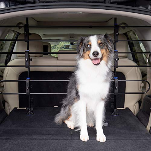 PetSafe Happy Ride Metal Dog Barrier - See-through Tubular Design - Fits Most Cars, Minivans and SUVs - Keep Pets in the Back - Easy to Store in Vehicles