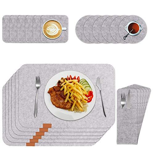 RosewineC Juego de 24 manteles individuales de fieltro, lavables en gris antracita, juego con posavasos de cristal y bolsas para cubiertos, antideslizantes, para cocina familiar (gris)