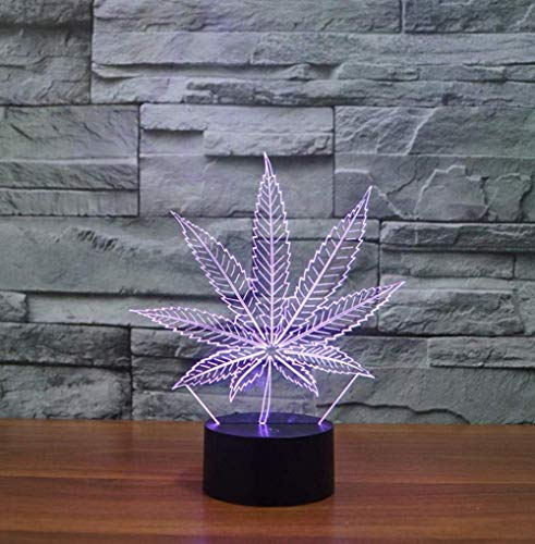 Interruptor táctil de luz deslizante 3D y lámpara de escritorio con control remoto Botón táctil de cambio de 7 colores y caja USB regalo creativo decoración de hoja de arce