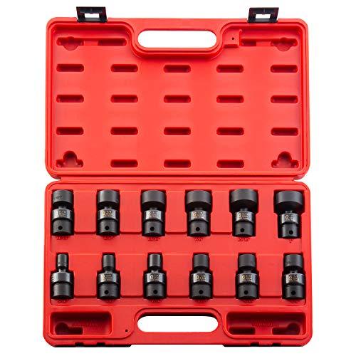 "Sunex 3690, 3/8 Inch Drive Universal Impact Socket Set, 12-Point, 12-Piece, SAE, 5/16"" - 1"", Cr-Mo Alloy Steel, Radius Corner Design, Heavy Duty Storage Case"