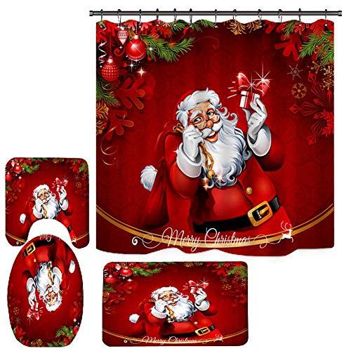 MOLEK 4 Stücke Weihnachten Bad Sets, Schneemann Weihnachtsmann Badezimmergarnituren mit rutschfesten Teppichen,Toilettendeckel,Badematte & Duschvorhang