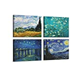 4 Pcs Abstract Van Gogh Starry Night Wall Art by Van Gogh Waterproof Canvas Prints for Livingroom Bathroom Gallery Wrap Inner Frame with Accessories for Hanging (A, 12X16InchX4Pcs)