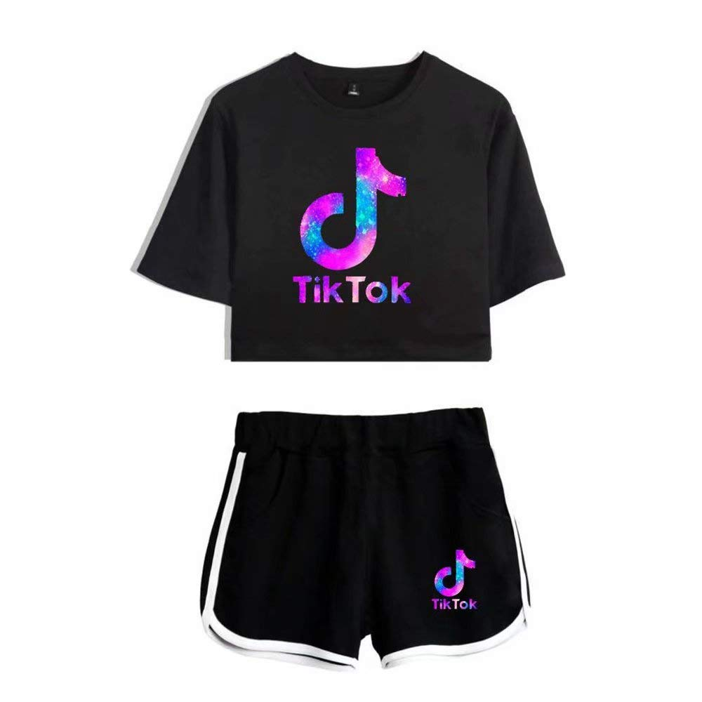 Women's T-Shirt with Shorts 2Pcs Set of Tracksuit Sportwear Suit for Girls Ladies