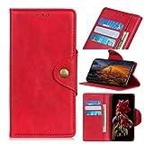 MINGYOUNG - Custodia a portafoglio compatibile con LG K53, in pelle di pecora, con funzione di supporto, chiusura a libro e scomparti per carte di credito, colore: Rosso