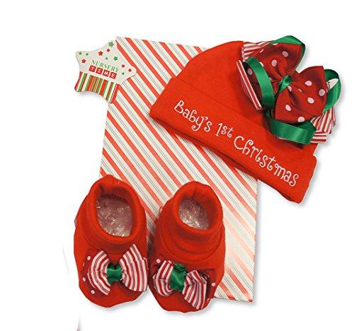 Cute 2 pièces Rouge Ensemble cadeau – Babys 1st Motif de Noël – accompagnées Chapeau et chaussons – 0 à 6 mois