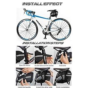 Bolsa de Sillín de Bicicleta, ikalula Impermeable Bolsas de Ciclismo Ajusta Paquete de Asiento de La Bicicleta Almacenamiento, Negro