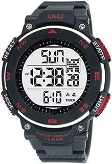 Q&Q Men's Silver Dial Silicone Band Watch - M124J001Y, Black Band, Digital Display