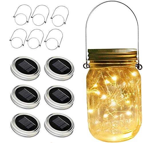 ZNYCYE Solar Mason Jar Lights, 6 Pack 30 Led String Fairy Star Firefly Jar Lids Lights, Jars Not Included, Best for Mason Jar Decor,Great Outdoor Lawn Decor for Patio Garden, Yard (Warm White)