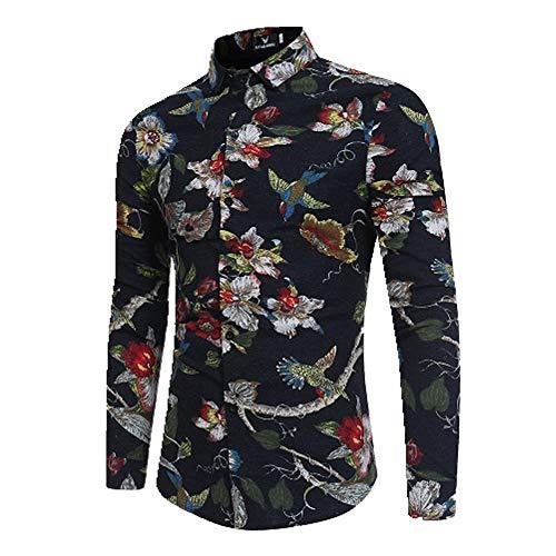 Herren-Hemd, langärmlig, modisch, Rose, 3D-Druck, Blumenmuster, Umlegekragen, schmale Passform Gr. L, Schwarz