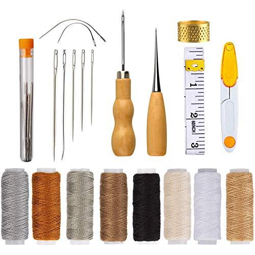 Leder Werkzeug,BETOY Hand Nähen Nähen Leder Tools Leder Wachsfaden Cord Nähen Wachsfaden Handwerkzeuge Leder Werkzeuge Set für Lederhandwerk DIY Sewing Craft für Lederpolster DIY Sewing Craft