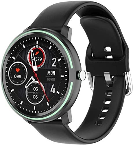 NCHEOI SmartWatch Smart Watch Watch 1 28 Pulgadas Bluetooth Silicone Ejercicio de Sueño Información Llamada Sedente Recordatorio Pulsera Exquisito/Plata (Color : Black)