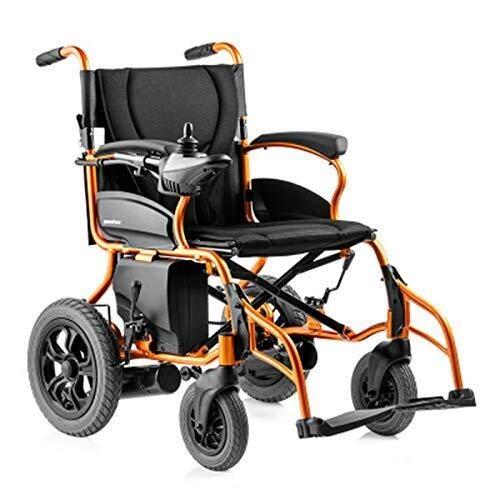 QZDDLY Elektro-Rollstuhl, Aluminium Folding Transit Rollstuhl tragbar und einfach zu bedienen Strommotorroller Stuhl Starker Leistung Elektro-Rollstuhl 20KM Kreuzfahrt-Range