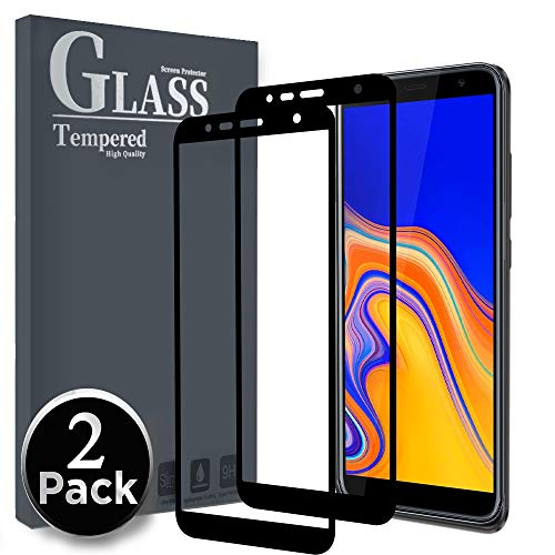 Ferilinso Cristal Templado Samsung Galaxy J6 Plus /J6+ /J4 Plus /J4+,[2 Pack] Estuche Libre de Burbujas Película Protectora de Protector de Pantalla