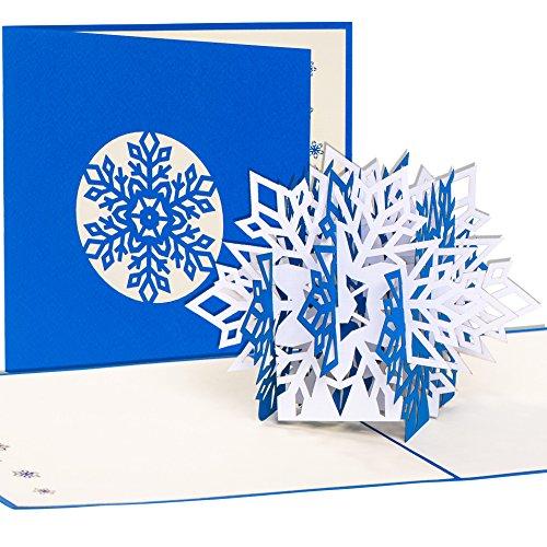 Kerstkaart sneeuwvlok, 3D pop-up kaart met envelop als tegoedbon of verpakking voor geldgeschenken & waardebonnen voor Kerstmis, cadeaukaart, Merry Christmas