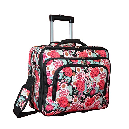 "World Traveler Women's Fashion Print Rolling 17"" Laptop Case-Flowers, One Size"