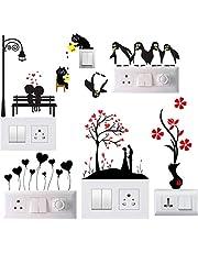 Techgifti™ Switch Board Sticker Wall Sticker, Wall Art, Fridge Sticker, Switch Stickers, Wall Stiker Combo Set of 6