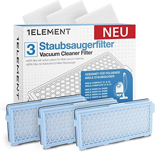 3 Filter für Miele Staubsauger [Compact C1 & C2, Complete C2 & C3, S8340] – 3 HEPA Filter + 3 Motorfilter für Allergiker gegen Feinstaub/Gerüche [S4000, S5000, S6000 & S8000] 𝟭𝗘𝗟𝗘𝗠𝗘𝗡𝗧