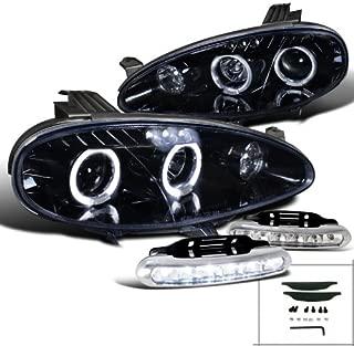 Spec-D Tuning L12-LHPMX501GTM Fog Headlight (Miata Glossy Black Halo Projector LED Bumper Lamp)