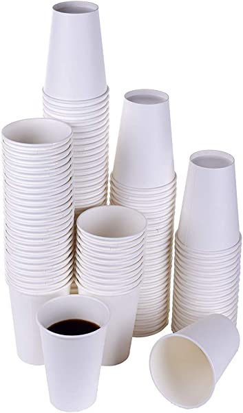 TashiBox White Hot Drink 120 Count 12 Oz Disposable Paper Coffee Cups