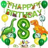 Bluelves Decoración de cumpleaños para niños Dino, Globo Verde 8, decoración de cumpleaños para niño de 8 años, decoración de cumpleaños
