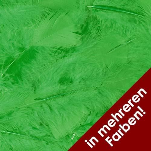 Thetru Federn 100 Stück in Verschiedenen Farben | Länge ca.15 cm | Deko-Federn für Samba-Kostüme, Ostern, Karneval und Fasching (grün)