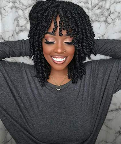 Toyotress 8 inch Bob Spring Twist Crochet Hair Pre-Twisted Super Light Spring Twists Crochet Braids Pre-looped Synthetic Braiding Hair Extension (8 Inch (Pack of 7), 1B)
