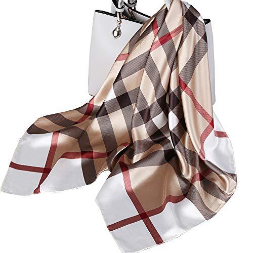 Ecroon Damen Schal Kopftücher Halstuch Elegante Schal Frauen Elegant Seidenschal Business Seidentuch Scarf Bandana Taschentuch Ansatz Handgelenk Verpackungs (One size, M)