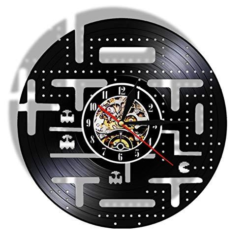 ERTOQ Reloj de Pared de Vinilo Juegos Arcade Record Clock Vintage Registro de Vinilo Regalo Hecho a Mano hogar Decoración 7 Colores luz Nocturna 30x30cm- con LED