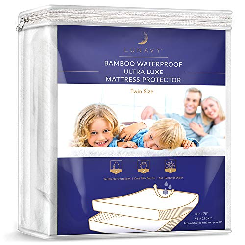 LUNAVY Premium Bamboo Waterproof Mattress Protector - Machine Washable Pad (Twin Size)