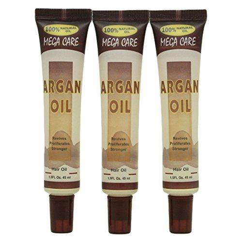 Sunflower Cosmetics Mega Care Tube Hair Oil 1.5oz (3 Pack) (Argan Oil)