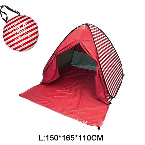 DYGZS tent Beach Tent Pop Up Automatic Open Tent Family Ultralight Folding Tent Tourist Fish Camping Anti-uv Fully Sun Shade China L red stripe DL