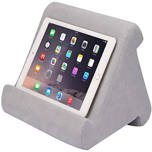 FANIER Support Universel pour Tablette iPad, Pad Pillow Support pour Coussins Souples Multi-Angles pour lecteurs de Livres électroniques, Smartphones, Lecteurs Électroniques, Magazines (Grise)