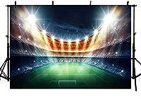 新しいサッカーフィールド写真背景体育館スポーツマッチキラキラ写真背景スタジオ写真7x5ftポリエステル背景