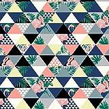 Pingianer Tela de punto de flamenco, triángulo, 94% algodón, 6% elastano, 50 x 165 cm, tejido de punto por metros, artesanía, tela de costura, 100 x 165 cm