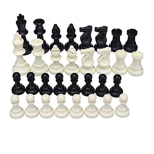 XLAHD Luxury Chess Set,Chess Board Game Game Chess Foldable King Knight Set Outdoor Recreation Kids Family Traveling Camping Game 32 Piece for Kids and Adults (Color : Black+White, Size : 64mm)