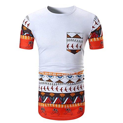 URSING Herren Shirts Männer Sommer Casual Afrikanisch Drucken O Hals Pullover Kurzarm T-Shirt Tops mit Tasche Vintage Retro Bluse Freizeithemd Blusenshirt Sommerblusen (XL(Asian XL=EU L), Weiß)