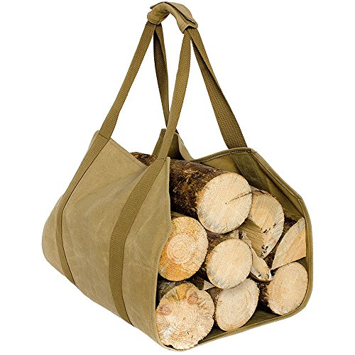 Case4Life Heavy Duty Water Resistant Waxed Canvas Firewood Log Carrier -...