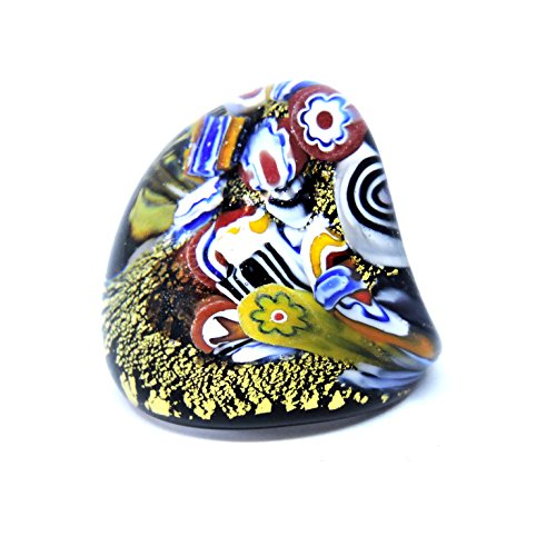 Anillo de cristal de Murano para mujer con firma, hecho a mano, todo murrina millefiori y hoja de oro, muy cómodo y ligero, indicado para uso frecuente