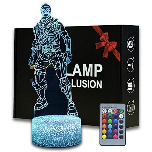 Magiclux 3D Illusion Battle Royale Nachtlicht, Spiel Thema Tischlampe mit Fernbedienung Schlafzimmer Dekoration, Kreative Schreibtischlampe für Geburtstag (MY11-Skull Trooper)