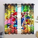 Cortinas decorativas Super-mario Bros backout cortina para dormitorio infantil tratamiento de ventana para sala de estar W63 x L63