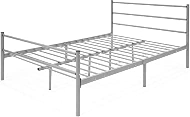 Skrootz Full Size Bed Frame with Metal Headboard & Center Support Legs Silver 330 LBS Capacity