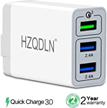 HZQDLN Fast Wall Charger QC 3.0 USB Quick Charge 3 Ports Tablet iPad Phone Charger Adapter Travel Plug Compatible iPhone X/Xs/XS Max/XR/8/8+/7P/7/6/5 Samsung S8/S7/S6/Edge/LG HTC