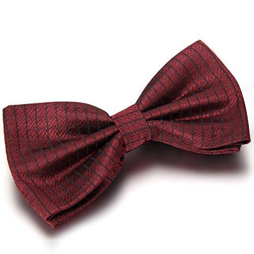 JewelryWe Accessoires Cravate Noeud Papillon Façonnée Uni Polyester Couleur Rouge Foncée Homme
