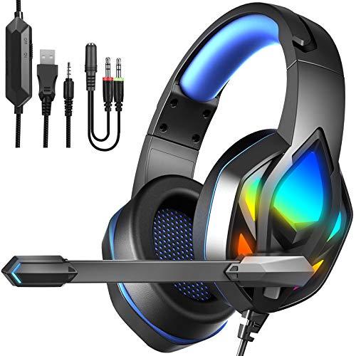 Cuffie Gaming PS4 con Microfono, 3.5mm Cuffie da Gaming per PS5, Xbox One, PC, Switch Cuffie Over Ear con Cancellazione del Rumore, Luce LED e Controllo Volume Gaming Headset Cuffie da Gioco Blu