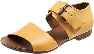 VulusValas Women Peep Toe Flats Sandals