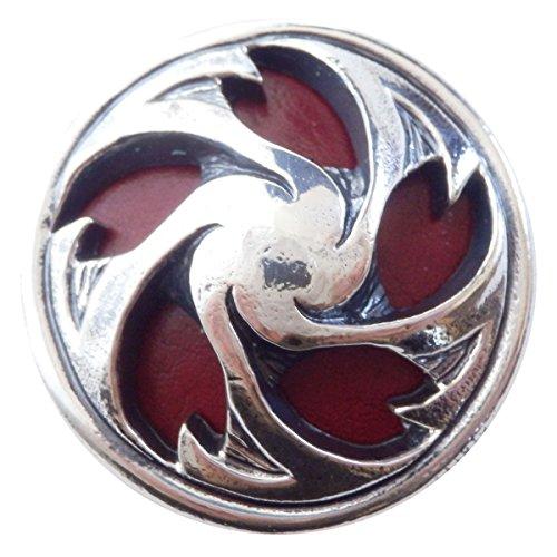 コンチョ 和柄 直径28mm シルバー 色 桜 赤革 zw-sakura-red サクラ 櫻 レッド革 ZIVAGO